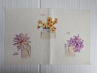Лен с цветочными рисунками 20*30 см (аппликация 9*9 см), фото 1