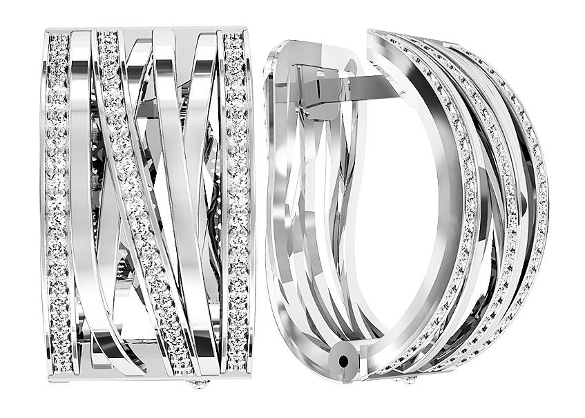 Серьги серебряные Weave 111 655