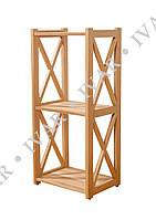 Деревянный стеллаж ШАРМ из массива дуба. 880*800*290мм. 3 полки