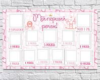 Плакат 12 месяцев на украинском PRINCESS 75х120см