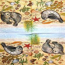 Салфетка декупажная Морские котики 1517