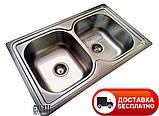 Двойная кухонная мойка Galaţi Fifika 2C Satin 78*48 прямоугольная, фото 2