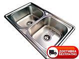 Кухонная мойка Galaţi Fifika 2C Textură 78*48 стальная двойная, фото 2