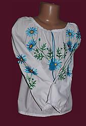 """Дитяча блуза з вишивкою """"Голубі ромашки"""""""