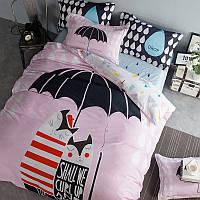 Дитячий бавовняний комплект постільної білизни Кішки під парасолькою (полуторний), фото 1