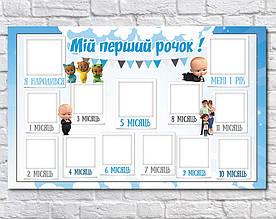 Плакат 12 месяцев на украинском Босс Молокосос 75х120см