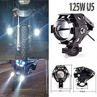 Светодиодные мото фары 2шт u5 +переключатель  , led линзы фары для мотоцикла / авто / квадроцикл automotosvet.