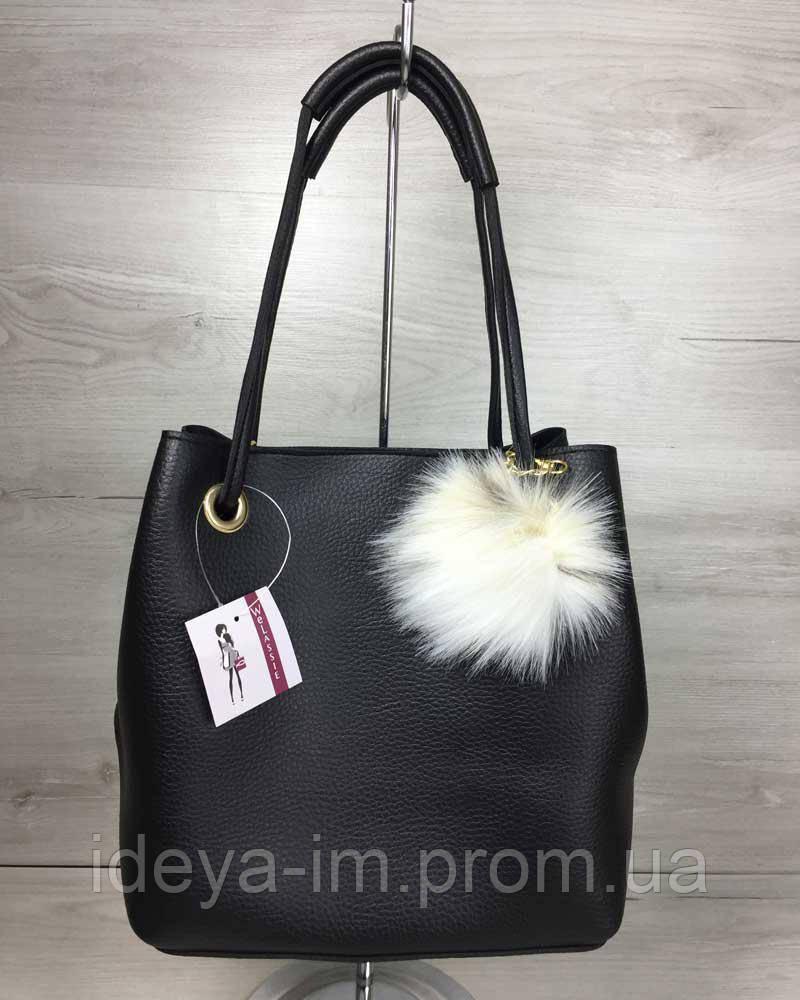 93bb913a5961 2в1 Молодежная женская сумка Пушок черного цвета: 438 грн. - Сумки ...