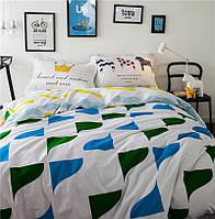 Белый хлопковый комплект постельного белья Яркие моменты (двуспальный-евро)