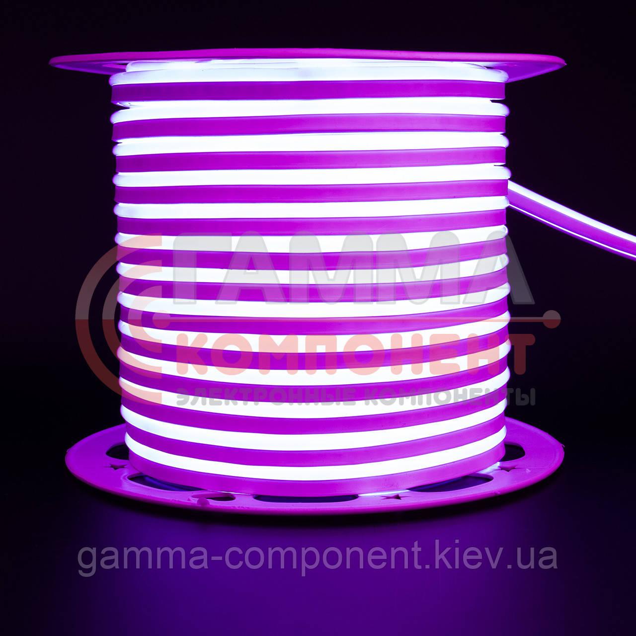 Светодиодный неон 220В розовый AVT smd 2835-120 лед/м 7Вт/м, герметичный. Бухта 50 метров.