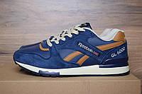 Кроссовки мужские в стиле Reebok GL 6000, замша, текстиль код OD-1294. Синие с коричневым