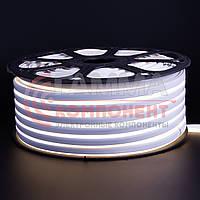 Светодиодный неон 220В белый smd 2835-120 лед/м 12Вт/м, герметичный. Бухта 50 метров.