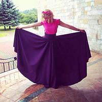 Юбка трикотажная солнце в пол фиолетового цвета
