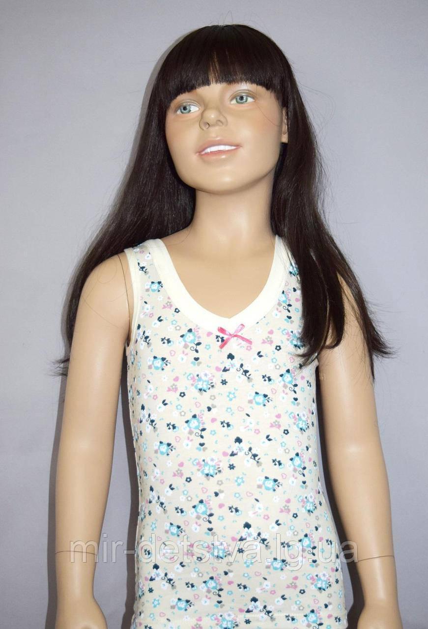 """Майки детские для девочек """"Цветы, сердечки"""" ТМ Baykar, Турция оптом р.2 (110-116 см) ост.1 шт розовый"""