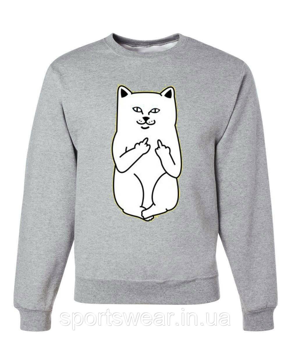 Свитшот RIPNDIP CAT Кофта РипНДип кот серый
