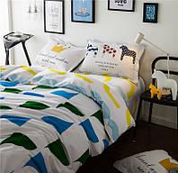 Белый хлопковый комплект постельного белья Яркие моменты (полуторный)