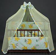 Постельный комплект в детскую кроватку 2569 - 7 предметов, Мишка на луне, цвет голубой