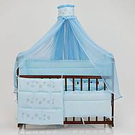 Постельный комплект в детскую кроватку Премиум - 8 предметов, Мишки, цвет голубой