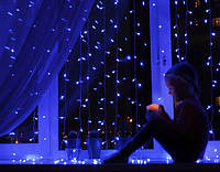 "РАСПРОДАЖА! Гирлянда Водопад 3 х 1.2 м 240 led ""Световой занавес"",  ""Штора"" тепло-белый, синий цвет"