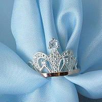 """Серебряное кольцо """"Корона"""" с золотыми вставками"""