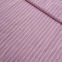 Ткань с белой полоской на розовом фоне, ширина 80 см, фото 1