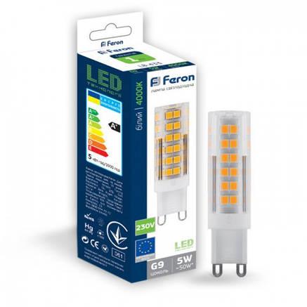 Светодиодная лампа Feron LB-433 5W G9 4000K, фото 2