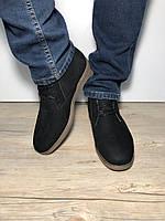 Мужская зимняя обувь ботинки из натурального нубука мужские