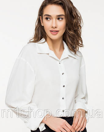 Женская белая шелковистая рубашка (21105 ie/ist), фото 2
