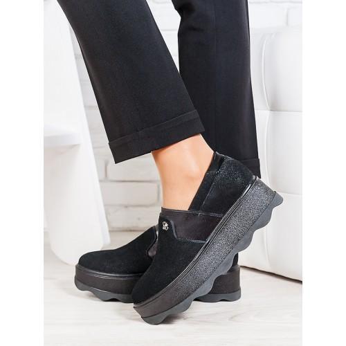 0a651e44e Стильные женские туфли лоферы на платформе кожаный сатин черные ...