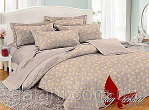 Евро комплект постельного белья светло-коричневый