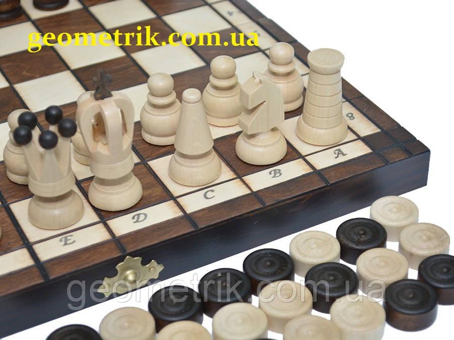 Шахматы + шашки, дерево, 31 х 31 см (Польша, изделия из дерева)