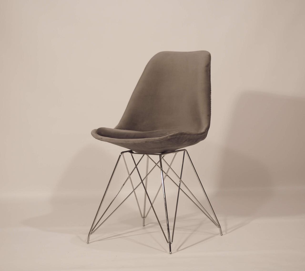Стул обеденный мягкий на хромированных ножках  Milan Soft Chrom ML Бархат, цвет серый