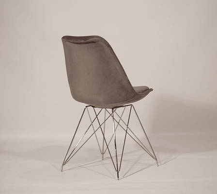 Стул обеденный мягкий на хромированных ножках  Milan Soft Chrom ML Бархат, цвет серый, фото 2