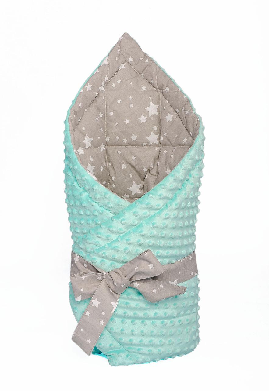 """Конверт - одеяло на выписку """"Звездопад"""", на мятном плюше, утепленный"""