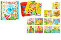 Мозаика 12 картинок, 35 фишек, развивающая детская Цветная мозаика с крупными деталями