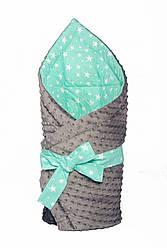"""Конверт - одеяло на выписку """" Мятный Звездопад"""" на сером плюше, утепленный"""