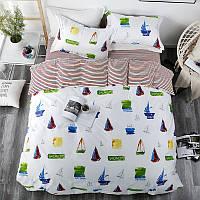 Хлопковый комплект постельного белья Морская регата (двуспальный-евро)