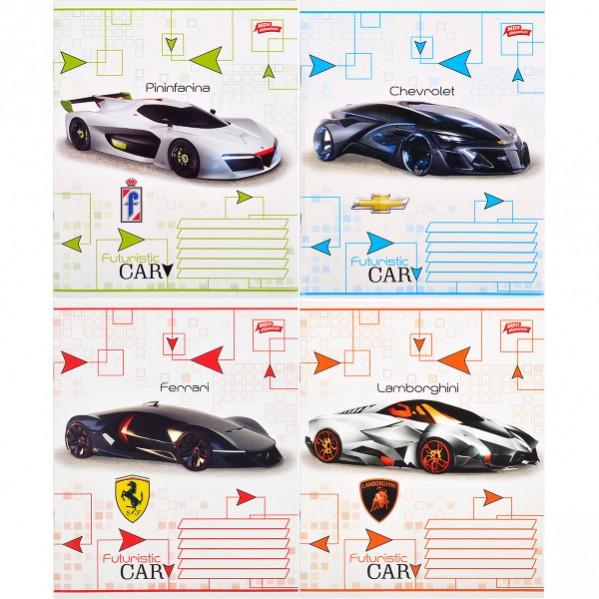 Тетрадь цветная 12 листов, линия «Футуристический автомобиль          20 штук         2540л
