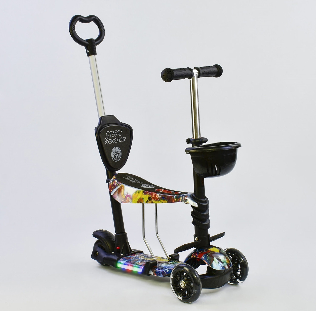 Best Scooter Самокат 5 в 1 Best Scooter 67050 Black/Abstraction (67050)