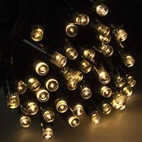РАСПРОДАЖА! Уличная Гирлянда Нить 10 м 100 LED / черный провод, теплый белый цвет + Flash / IP65