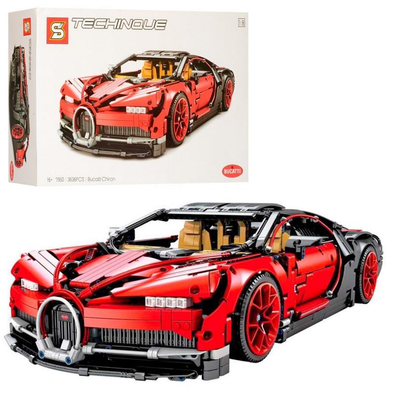 """Конструктор """"Автомобиль Bugatti Chiron"""" 1:8 SY7950 3636 деталей"""
