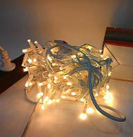 РАСПРОДАЖА! Уличная Гирлянда Нить 10 м 100 LED / белый провод, теплый белый цвет + Flash / IP65