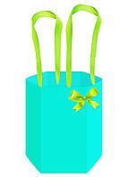 Бумажная сумка для цветов (45 см) шестиугольная, бирюзовая