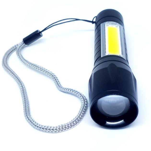 Фонарик мини BL-511 ХРЕ+COB USB charge ZOOM карманный и кемпинговый в футляре