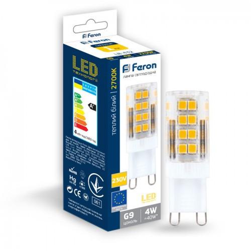 Светодиодная лампа Feron LB-432 230V 4W 51leds G9 2700K 350Lm