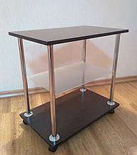 Приліжковий журнальний столик Loco венге зі скляною полицею на роликах