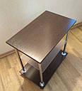 Приліжковий журнальний столик Loco венге зі скляною полицею на роликах, фото 2