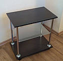Приліжковий журнальний столик Loco венге зі скляною полицею на роликах, фото 4