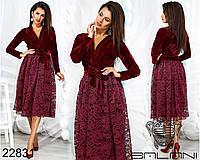 Нарядное женское платье,ткань бархат+гипюр на подкладке., фото 1