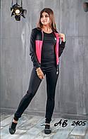 Женский спортивный фитнес костюм тройка лосины майка кофта с капюшоном чёрный с розовым 42 44 46